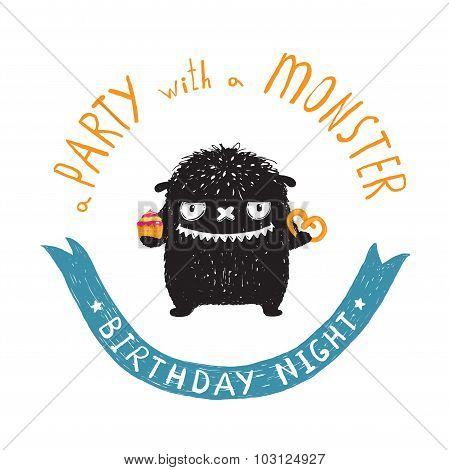 Funny Cute Little Black Monster Birthday Party Greeting Card or Invitation