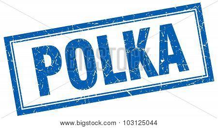 Polka Blue Square Grunge Stamp On White