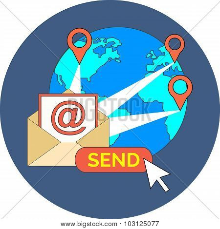E-mail Marketing, Newsletter Concept. Flat Design.