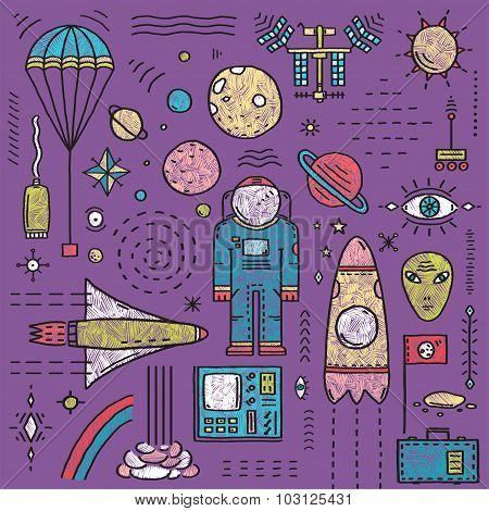 Space Planets Stars Cosmonaut Design Elements Colored Line Art Collection