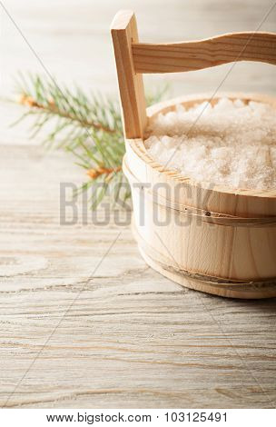 Salt In Wooden Bucket