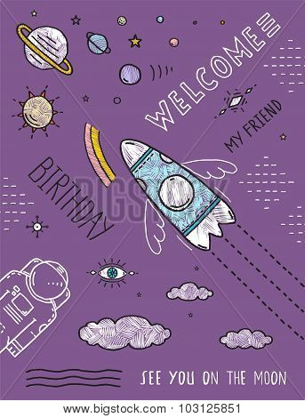 Space Planets Stars Cosmonaut Spaceship Flight Line Art Poster or Invitation Design