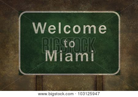 Welcome To Miami Roadside Sign Illustration