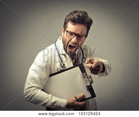 Angry doctor screaming