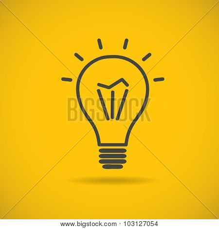 Light bulb vector icon, logo. Grey lineart light bulb on yellow background