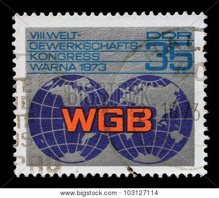 GDR-CIRCA 1973: A stamp printed in GDR shows Trade Union Congress, circa 1973.