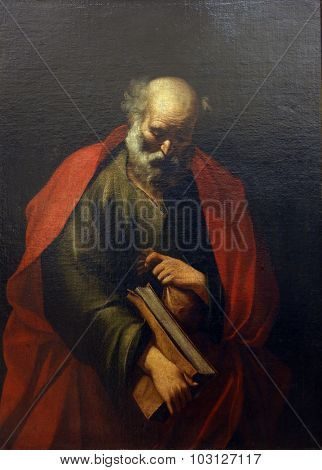 ZAGREB, CROATIA - DECEMBER 08: School Jusepe Ribera de lo Spagnoletta: St. Matthias, Old Masters Collection, Croatian Academy of Sciences, December 08, 2014 in Zagreb, Croatia