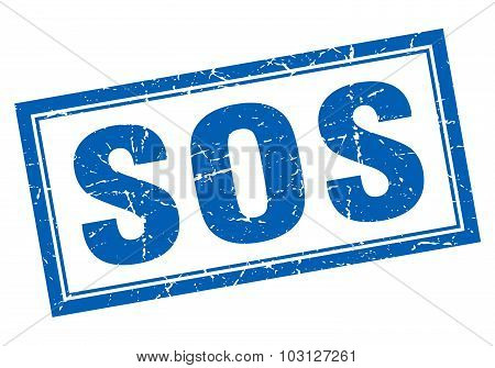 Sos Blue Square Grunge Stamp On White