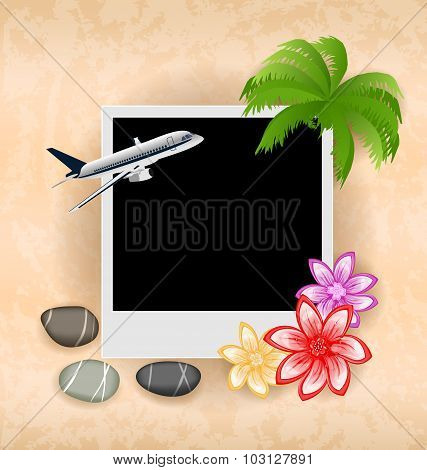 Photo frame with plane, palm, flowers, sea pebbles