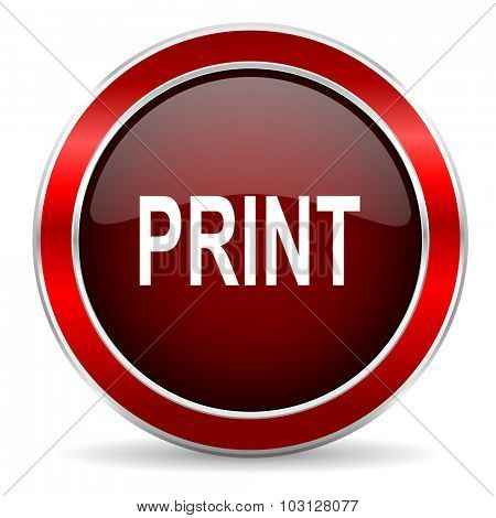 print red circle glossy web icon, round button with metallic border