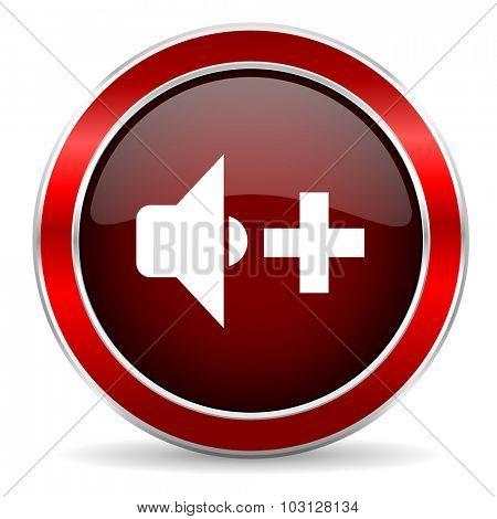 speaker volume red circle glossy web icon, round button with metallic border