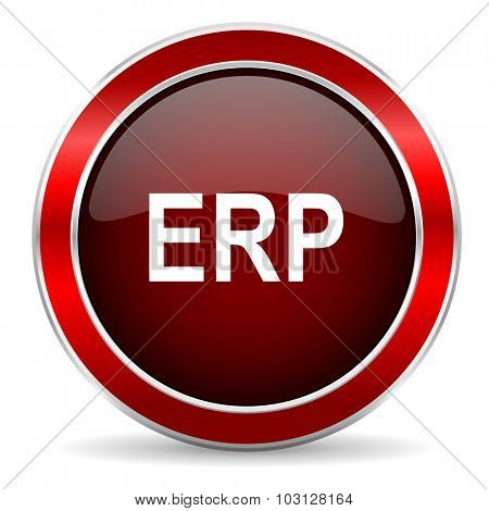 erp red circle glossy web icon, round button with metallic border