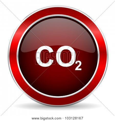 carbon dioxide red circle glossy web icon, round button with metallic border