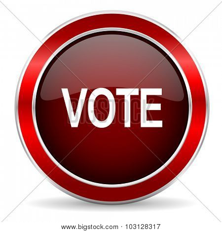 vote red circle glossy web icon, round button with metallic border
