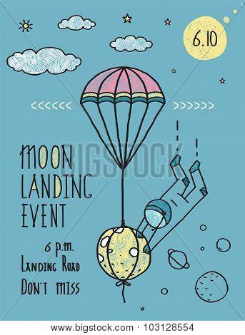 Sky Planets Stars Cosmonaut Moon Flight Line Art Poster or Invitation Design