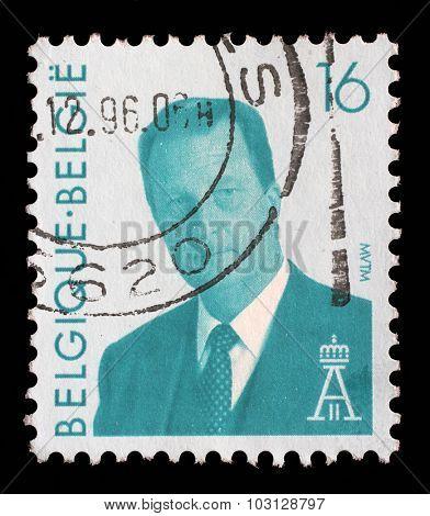 BELGIUM - CIRCA 1996: a stamp printed in the Belgium shows King Albert II of Belgium, circa 1996