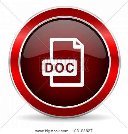 doc file red circle glossy web icon, round button with metallic border