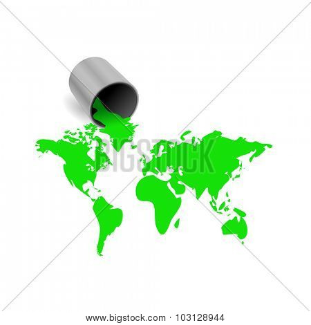 World Map paint illustration isolated on a white background