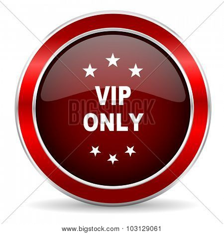 vip only red circle glossy web icon, round button with metallic border