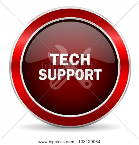 technical support red circle glossy web icon, round button with metallic border