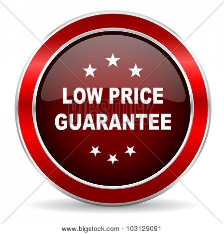 low price guarantee red circle glossy web icon, round button with metallic border