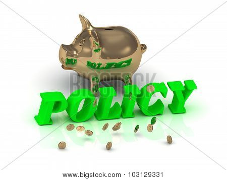 Policy - Inscription Of Bright Green Letters And Gold Piggy