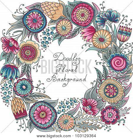 vector color floral frame pattern