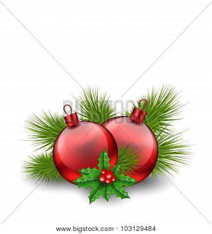 Christmas red glass balls with fir twigs and holly berry, on whi