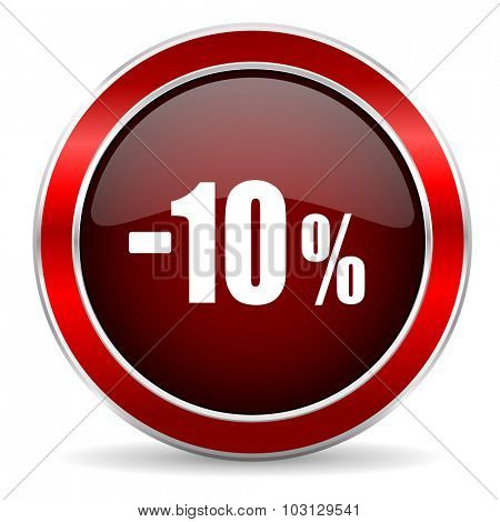 10 percent sale retail red circle glossy web icon, round button with metallic border