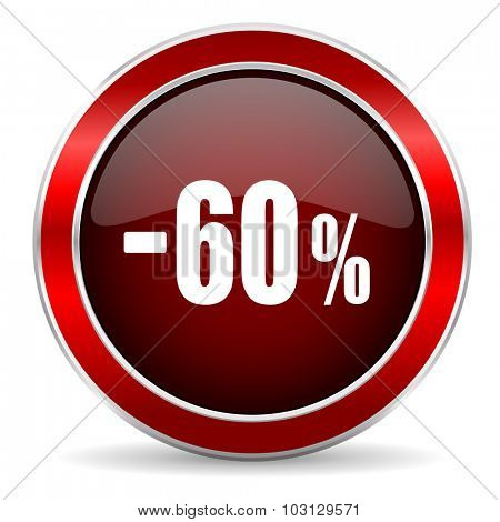 60 percent sale retail red circle glossy web icon, round button with metallic border