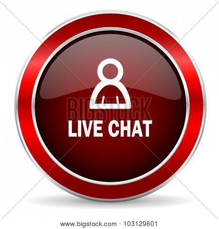 live chat red circle glossy web icon, round button with metallic border