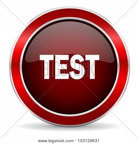 test red circle glossy web icon, round button with metallic border