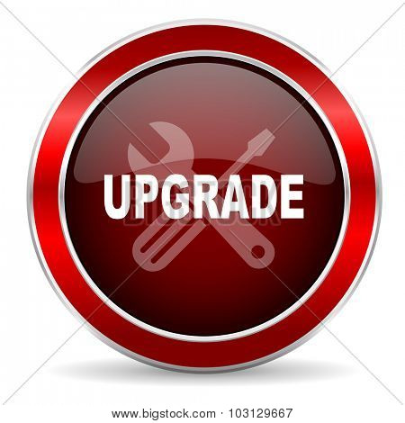 upgrade red circle glossy web icon, round button with metallic border