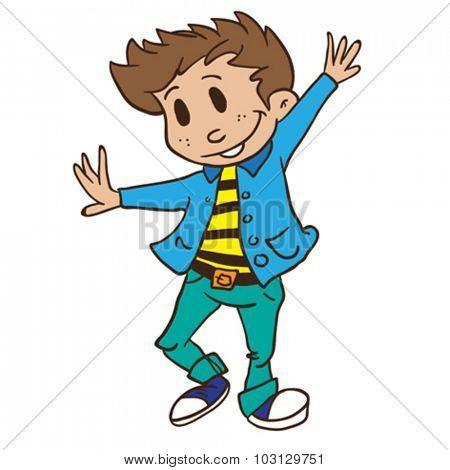 boy dancing cartoon illustration