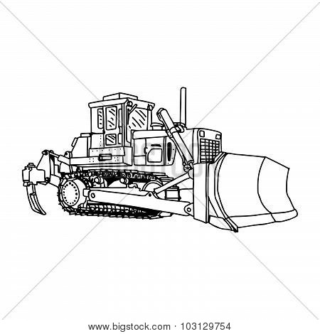 Illustration Vector Doodles Hand Drawn Loader Bulldozer Excavator Machine Isolated.