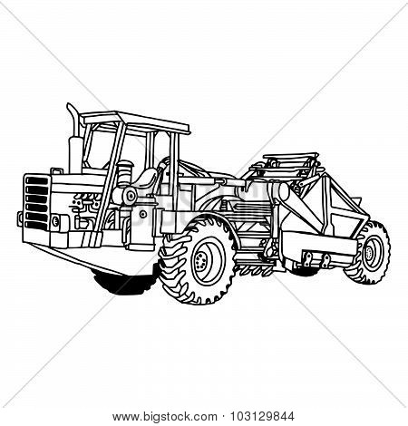 Illustration Vector Doodles Hand Drawn Of Wheel Tractor Scraper Isolated.