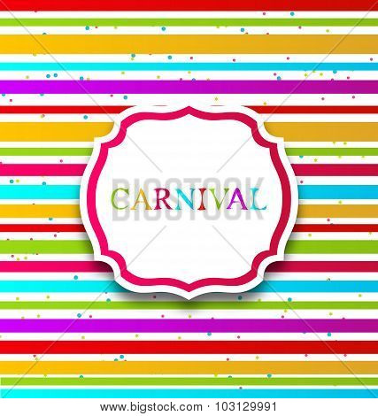 Colorful card with advertising header for carnival