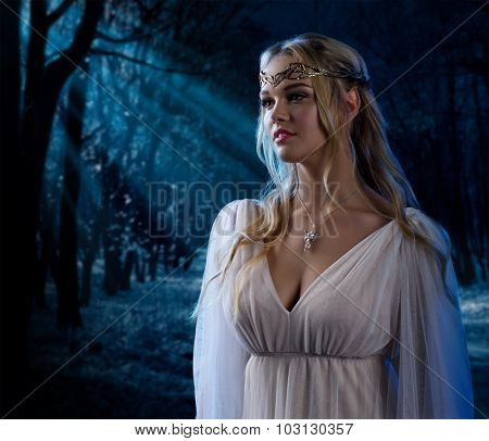 Young elven girl at night forest