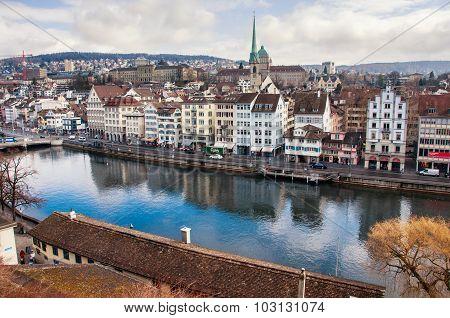 City Center Of Zurich In Spring