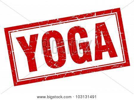 Yoga Red Square Grunge Stamp On White