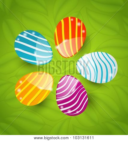 Easter set colorful ornamental eggs on green leaves background