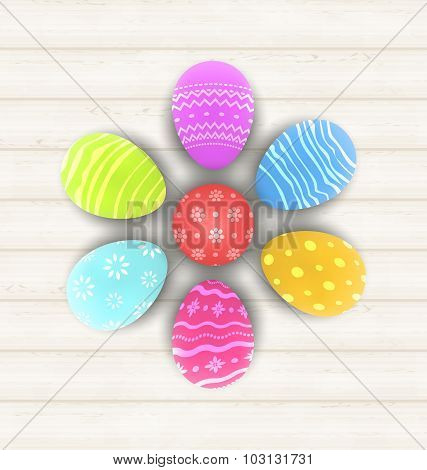 Easter set painted eggs on wooden texture