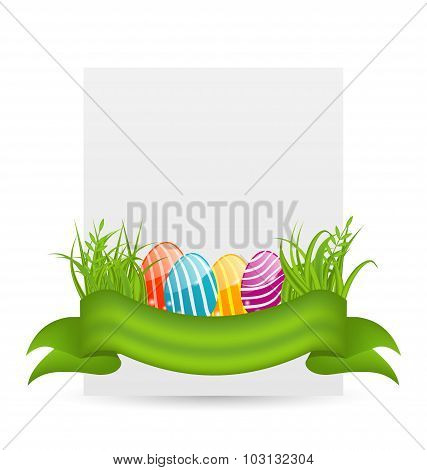 Easter colorful eggs in green grass with empty paper card for yo