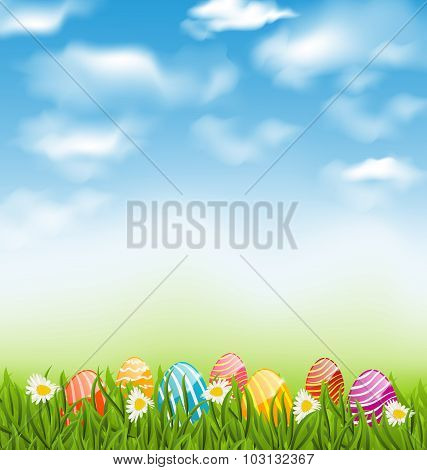 Easter natural landscape with traditional painted eggs in grass