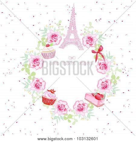 Flowers, Cupcakes, Eiffel Tower And Bow Vector Design Frame