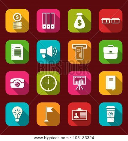 Group simple and trendy flat icons of business and financial ite