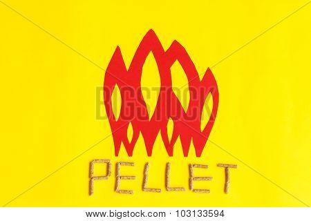 Grains Of Pressed Wood Forming The Word Pellet