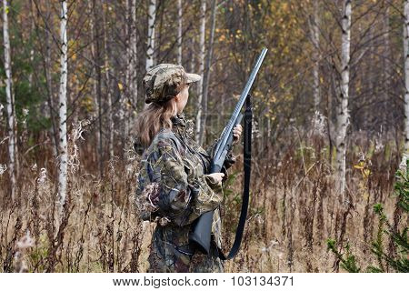 Woman Hunter In The Forest