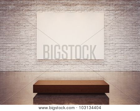 Mock up of empty canvas and white wall . 3d render
