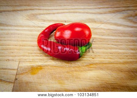 Red Chili Peppers On Chopping Board